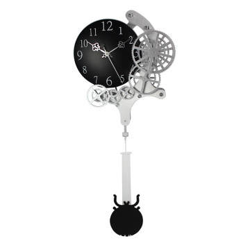 Metal pendulum gear wall clock
